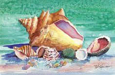 paintings pf sea shells | Sea Shells 2 Painting by Diana Tyson - Sea Shells 2 Fine Art Prints ...