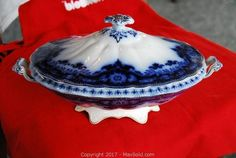 flow blue Covered Serving Bowl. A