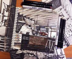 #ArtRi4ik Кофейня «СОВЫ» #sketch #sketching #sketchmarkers #sketchinterior #sketchbook #sketchmarkersclub #stabilo #sakura #кофейня #совы #кофе #copic #copikmarkers #touch #touchfinemarker #ilovesketchmarker