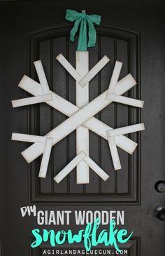 diy giant wooden snowflake great front door