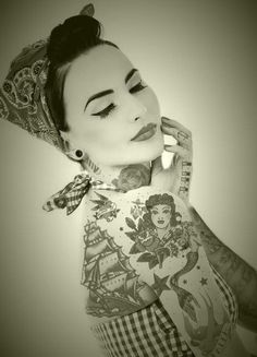 Painted lady....ink and rockabilly, very cool portrait.