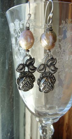 Upcycled Sterling Vintage Marcasite Rose Pearl Assemblage Earrings Edison or Kasumi Like Pearls Patina Classic Elegance