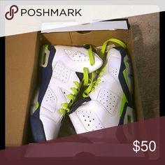 Boys Jordan's Boys white, blue, neon green Jordans. Excellent condition. Warren maybe three times. Size 6 Jordan Shoes Athletic Shoes