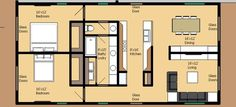 Really simple 2 bedroom 1 bath floor plan - no wasted space - I wld even add another master private toilet to other side of the bathroom. 2 Bedroom House Plans, Small House Plans, House Floor Plans, Building Plans, Building A House, Contemporary House Plans, Contemporary Bathrooms, Cottage Plan, Cottage House