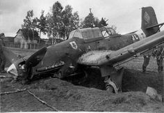German dive bomber Ju-87 Stuka reaches the end of its line somewhere in Russia after crash landing, c. 1943.