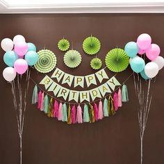 Office Birthday Decorations, Happy Birthday Decor, Diy Birthday Banner, Birthday Balloon Decorations, Diy Party Decorations, Birthday Balloons, Birthday Party Themes, Happy Party, Diy Birthday Backdrop