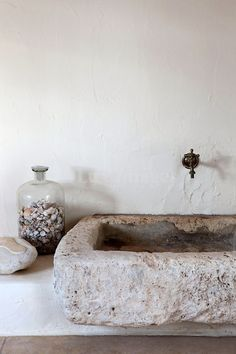Rough stone sink. Beautiful!