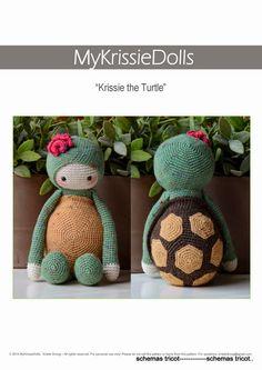 Crochet Pattern Krissie the Turtle von MyKrissieDolls auf Etsy, Crochet Amigurumi, Amigurumi Doll, Amigurumi Patterns, Crochet Dolls, Knitting Patterns, Crochet Patterns, Cute Crochet, Crochet Crafts, Crochet Baby
