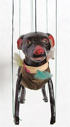 "Dog Marionette, Puppet, Vintage, Brown Dog:  7"" Tall  X  6"" Long, Ceramic Head, Cloth Body, Handmade in China"