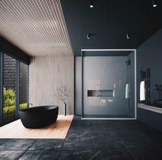 Minimal Interior Design Inspiration - Home Decor Interior Design Examples, Black Interior Design, Interior Design Inspiration, Design Ideas, Black Tub, Black Bathtub, Black White, Bad Inspiration, Bathroom Design Luxury