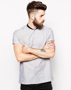 Image 1 of ASOS Smart Oxford Shirt In Short Sleeve With Baseball Collar