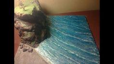 efecto de agua de mar con silicona para maquetas # 2 el acantilado