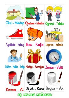 EŞ ANLAMLI SÖZCÜKLER Kara Kara, Turkish Lessons, Learn Turkish Language, Interactive Notebooks, Classroom Activities, First Grade, School Projects, Literacy, Homeschool