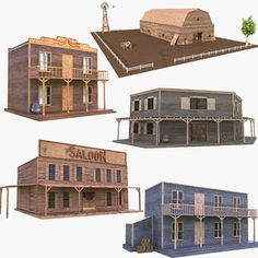 Old Western Towns, Ho Scale Buildings, Fortification, Wooden House, Model Trains, Wild West, Westerns, Models, 3d