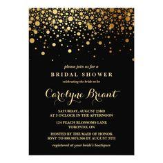 Faux Gold Foil Confetti | Black Bridal Shower Card