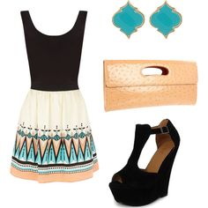 outfit: black thick-strapped singlet, cream / blue / nude tribal-printed flared miniskirt, gold / turquoise diamond studs, nude clutch, black velvet open-toed open-sided buckle-top platform wedges
