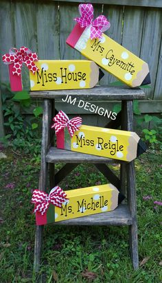 Replace that old boring name plate with something fun! This giant pencil measures approx 12 inches long and approx 4 inches tall. Personalized with your favorite teachers name. Ribbon may vary, based on what I have in stock. If you would like a specific color of ribbon, just let me know in the Notes to Seller section when you check out. Ill do my best to accomodate your request. Please note, this is not a real pencil, just a decoration. This giant pencil is made of wood, a natural material…