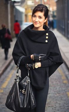 Just a Pretty Style: Street style black cape coat with leather gloves