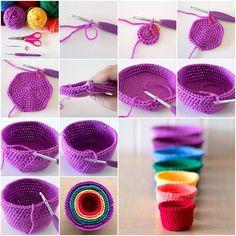 How to DIY Lovely Crochet Set of Rainbow Nesting Baskets Beau Crochet, Crochet Diy, Crochet Home, Crochet Crafts, Yarn Crafts, Crochet Projects, Crochet Ideas, Crochet Storage, Diy And Crafts Sewing