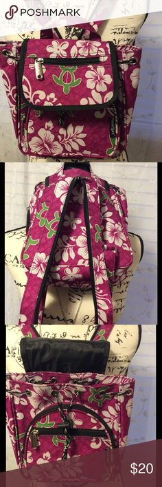 Cute Hawaiian 🌺 Spirit backpack NWOT Adorable small backpack that will hold your essentials.. wallet, glasses, keys and a couple other things. I just now tried putting my mini iPad in it and it was a tight fit. The main compartment closes with pull close clasp closure and then the flap closes over that. The flap closes with a snap closure there are two zipper pocket in the front. There is a side zipper pocket too. This backpack can be worn over both shoulders or you can zip up straps and…