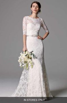 Watters 'Riviera' Illusion Bodice Lace Gown (In Stores Only)