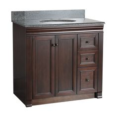 """Foremost SH3621DR Shawna Bathroom Vanity 36"""" with Right Side Drawers Tobacco Fixture Vanity Single"""