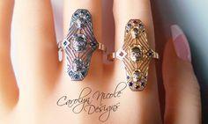 Art Deco Skull Ring by Carolyn Nicole Designs