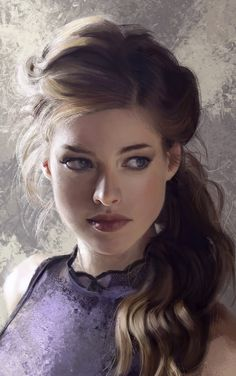 """Portrait Practice"" - Mandy Jurgens {figurative realism art beautiful female head young woman face digital painting}"