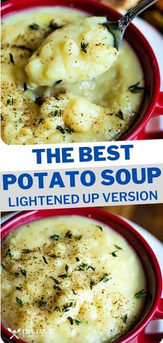 This lightened up potato soup is one creamy, delicious bowl of comfort food that won't leave you feeling guilty. Made from scratch and flavored with yellow onions sautéed in butter, my best potato soup recipe only takes 30 minutes start to finish! Best Potato Soup, Creamy Potato Soup, Baked Potato Soup, Old Fashioned Potato Soup, One Pot Meals, Easy Meals, Soup Recipes, Cooking Recipes, How To Make Potatoes