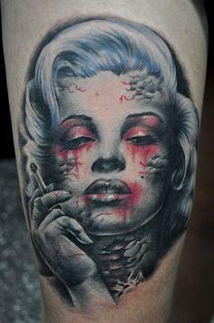 28272082f Tattoo by Benjamin Laukis Tattoo Foto, Skull Tattoos, Zombie Tattoos,  Wicked Tattoos,