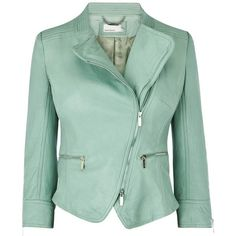 Karen Millen Leather Jacket ($425) ❤ liked on Polyvore featuring outerwear, jackets, leather jackets, coats, coats & jackets, aqua, leather jacket, green leather jacket, aqua leather jacket and green biker jacket