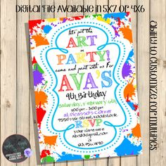 Art Theme Birthday Party Invitation Paint by SquishyDesignsbyMe