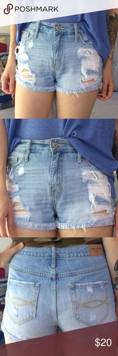 Distressed Denim Shorts Abercrombie & Fitch Distressed Denim shorts. Light wash. High-rise. Quality denim. In perfect condition, only worn a few times. Bundle & save.  Abercrombie & Fitch Shorts Jean Shorts