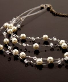 pearl and crystals necklace