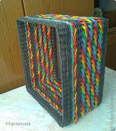 Поделка изделие Плетение Короба разные Бумага газетная Трубочки бумажные фото 11