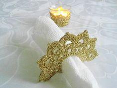Tea Candle Holder and  Crochet Napkin Rings,  Golden Crochet Table Holder, Wedding Celebration - Crochet creation by etelina