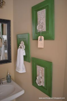 Vintage hardware mounted onto brightly colored cabinet doors--or possibly just on a plank of wood--makes for great hand towel holders. Cabinet Door Crafts, Old Cabinet Doors, Old Cabinets, Old Doors, Cabinet Hardware, Front Doors, Diy Casa, Home Projects, Home Decor Ideas