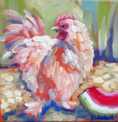Chicken -- contemporary artwork by Kristina Wentzell, framed print on canvas- red hen with slice of watermelon Chicken Painting, Chicken Art, Sketch Painting, Watercolor Sketch, Impressionist Paintings, Art Paintings, Rooster Art, Farm Art, Creative Illustration