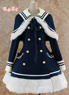 The coat I'm buying for Belle..Trying to sort the rest of the costume for Winter Wonderland.. White stockings, fur boots, what colour wig and what lolita style of bonnet/hairpiece..??