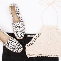 These 100% cotton spotted espadrilles are great candidates for day wear this season and are right on trend with denim, skirts, dresses or shorts. Available at #styletread | #espadrilles #flatlay #shoes #monochrome #spots #style #chic #boho