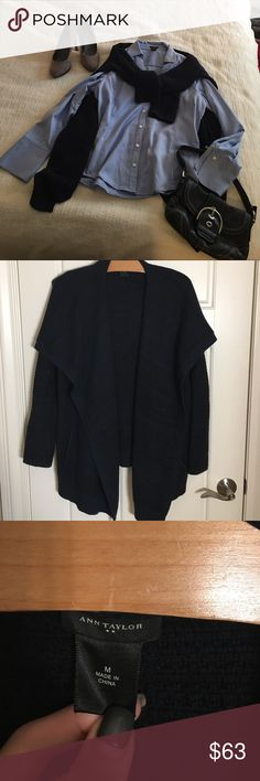Ann taylor open front sweater navy blue! Navy blue. Open in front. Great layering piece. And has open pockets in front ! Please see additional listings for other items in cover shot. Thanks for stopping by! Ann Taylor Sweaters