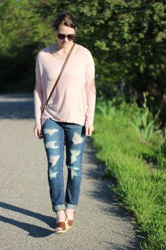 Distressed Boyfriend Jeans J.Crew Wide Strap Wedges Karen Walker Number One