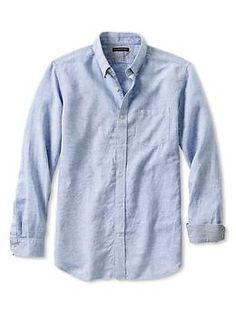 Slim Fit Linen-Cotton Button-Down Shirt | Banana Republic