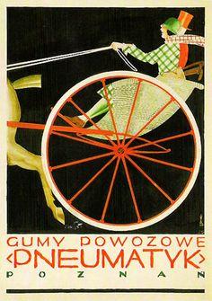 """Polish Poster by Tadeusz Gronowski (1894-1990), 1923, Gumy Powozowe """"Pneumatyk"""" Poznan (Rubber Transportation """"Pneumatics"""" Poznan)"""