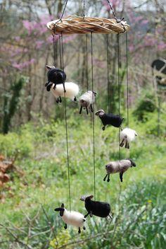 When Sheep Fly Handmade Felted Nursery Mobile by BondurantMountainArt