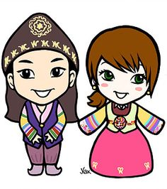 Cute couple wearing korean clothes (hanbok), illustration by Nax illustration Korean Clothes, Korean Outfits, Cute Couples, Disney Characters, Fictional Characters, Creativity, Artsy, Sketches, Behance