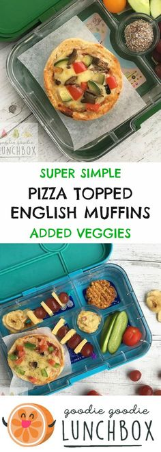 Pizza Topped English Muffins are a perfect alternative to a sandwich in the lunchbox. A fun way to package vegetables for school lunches that your kids will love.  #pizza #kidspizza #englishmuffins #schoollunch #schoollunches #kidslunches #school #backtoschool via @goodielunchbox