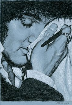 Elvis Art by Rob de Vries:  (still) Untitled 2013 Charcoal and White Chalk on Colored paper.  15 x 21 cm