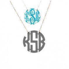 monogrammed acrylic necklace  www.charlottesinc.com  919-787-7113  $58