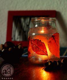 autumn decoration : leaf glow jar   artsy ants